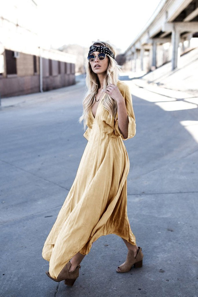 Deep V-neck 3/4 Sleeve Loose Long Pleated Dress