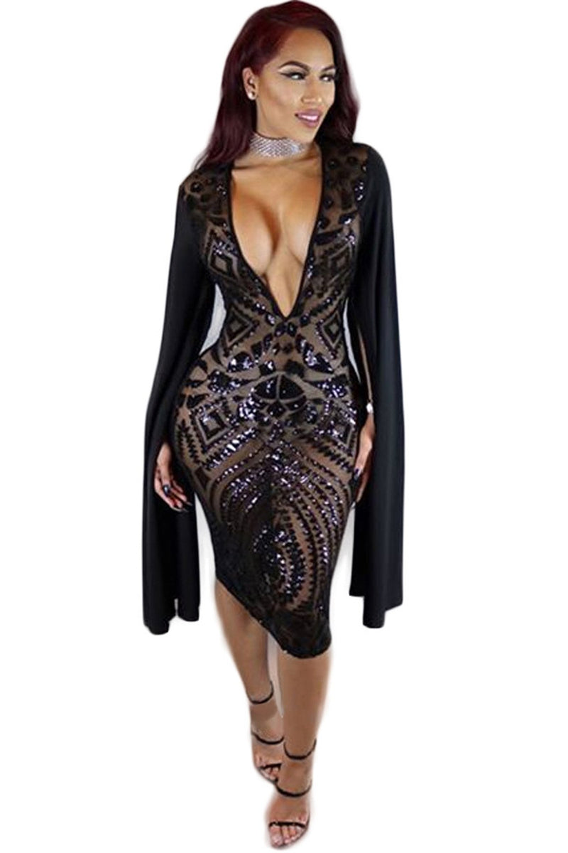 Deep V-neck Bodycon Sequins Knee-length Dress
