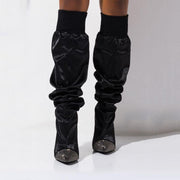 Black Rhinestone Pointed Toe High Heel Knee High Boots