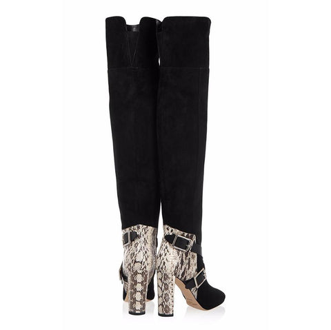 Patchwork Pointed Toe High Chunky Heel Over the Knee Loose Boots