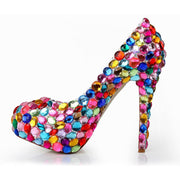 Rhinestone Round Toe Patent Leather Close Toe Pumps