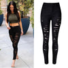 Slim Elastic Ripped High Waist Straight Jeans - Meet Yours Fashion - 1