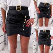 Black Leather Belt High Waist Ruched Skirts