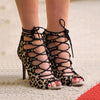 Leopard Suede Strap Cutout Peep Toe High Heel Sandals