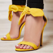Yellow  Strap High Heel Bow Sandals