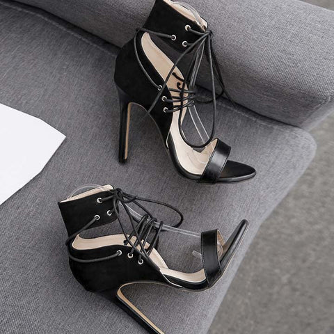 Black Matting High Heel Buckle Sandals