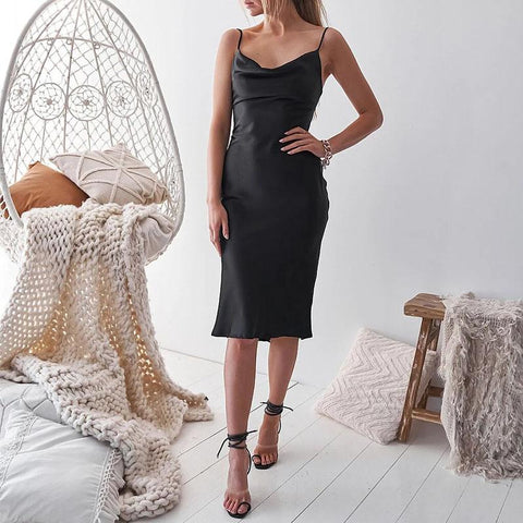 Spaghetti Strap Backless Midi Dress