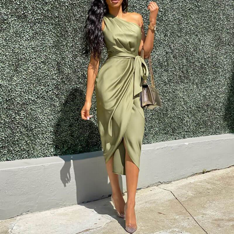 Satin Tight Slash Neck Tie Waist Midi Dress
