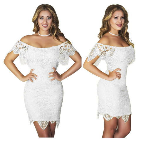 Off Shoulder Short Sleeves Short Bodycon Lace Dress