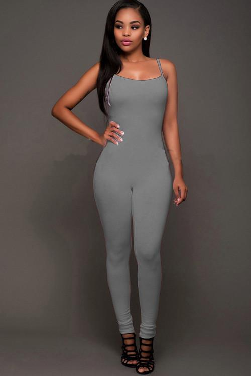Pure Color Spaghetti Straps Long Backless Bodycon Jumpsuit