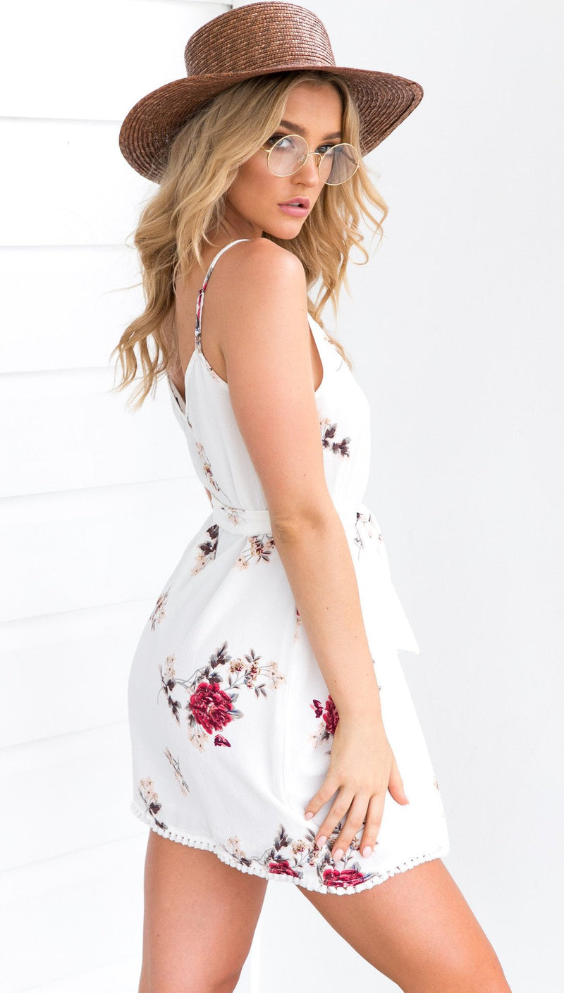 Spaghetti Straps V-neck Floral Print Short Dress