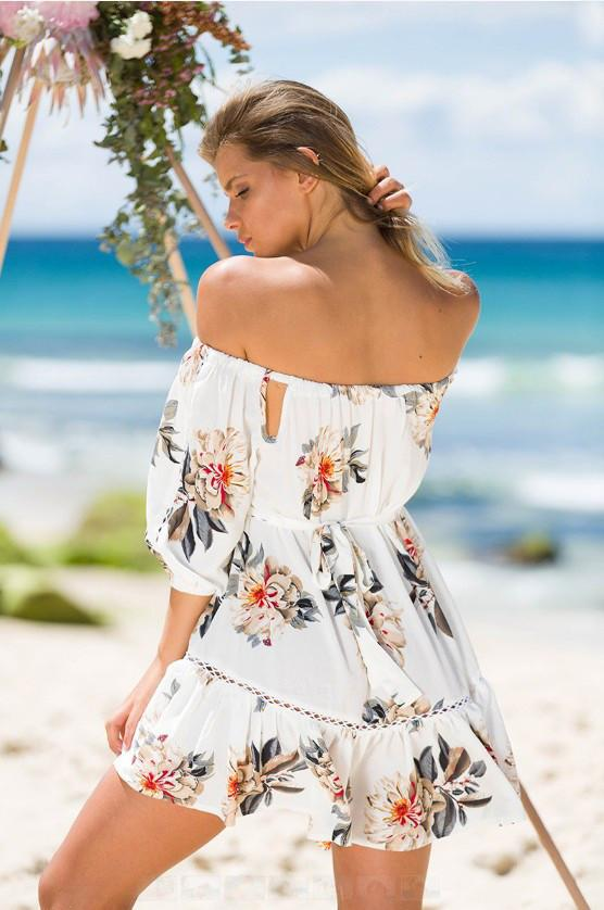 White Color Half Sleeves Off Shoulder Flower Print Sexy Short Dress