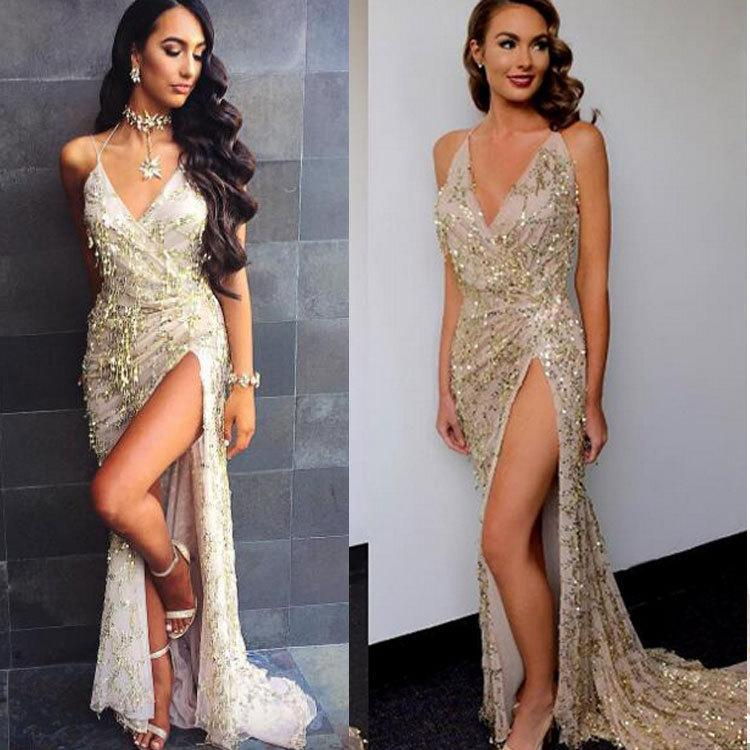 Sequins Spaghetti Straps Deep V-neck Split Long Party Dress