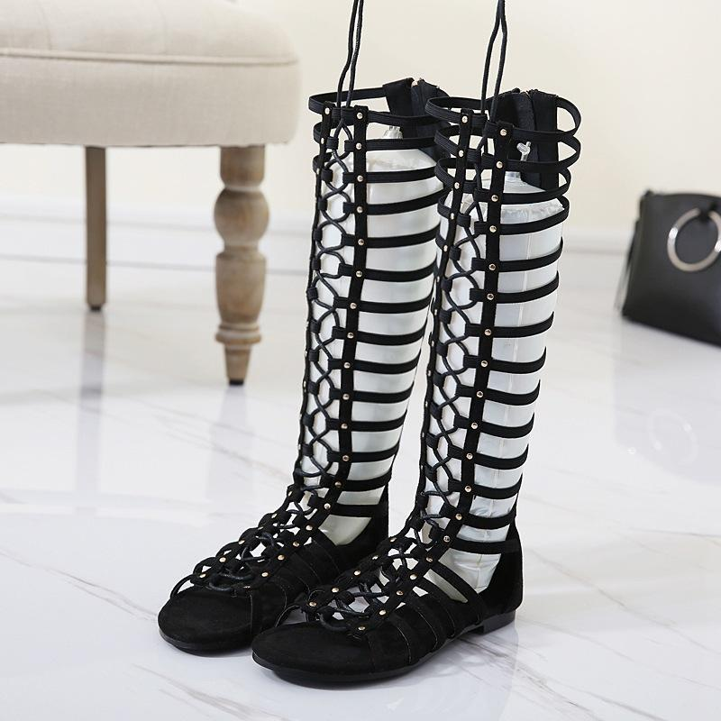 Rivets Straps Lace Up Open Toe Long Boot Roman Style Sandals