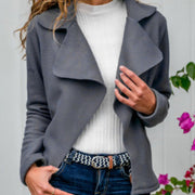 Simple Notched Collar Suedette Jacket
