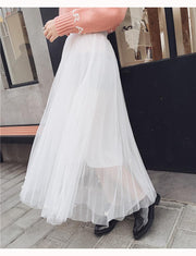 Tulle Beads High Waist Long Swing Skirt