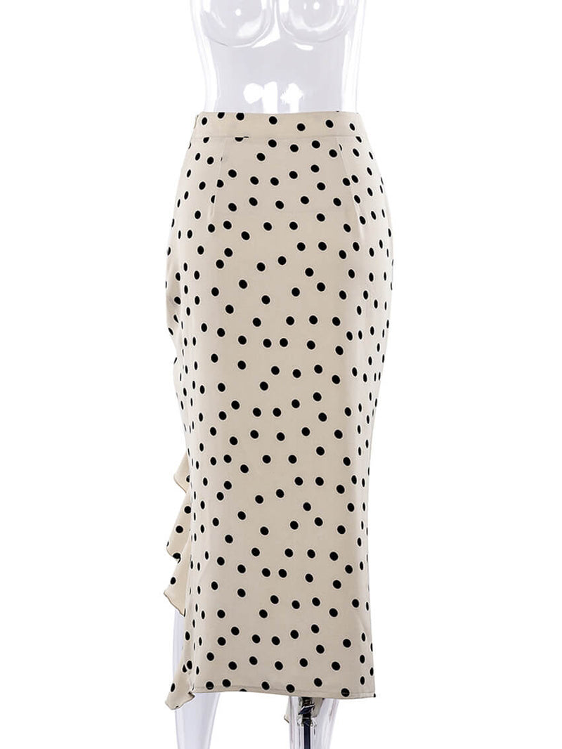 Sexy Khaki Dot Flapper Irregular Maxi Dresses