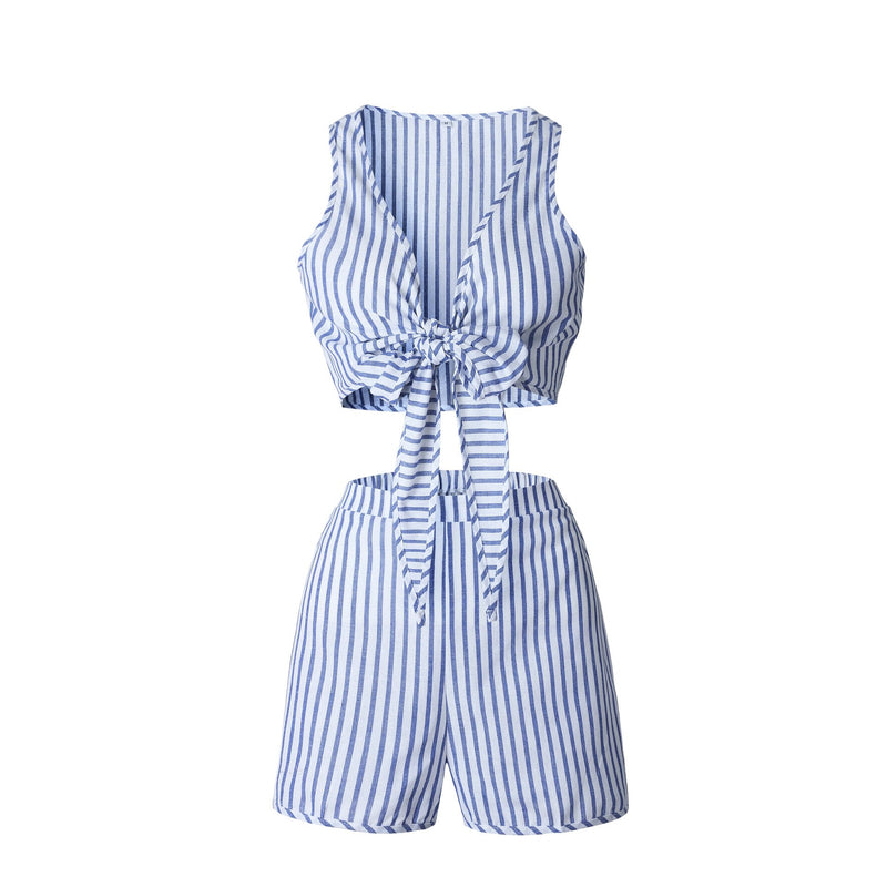 Striped Bowknot Deep V-neck Crop Top with Shorts Two Pieces Set