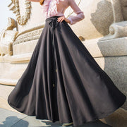 Straps High Waist Solid Color Loose Long Pleated Beach Chiffon Skirt