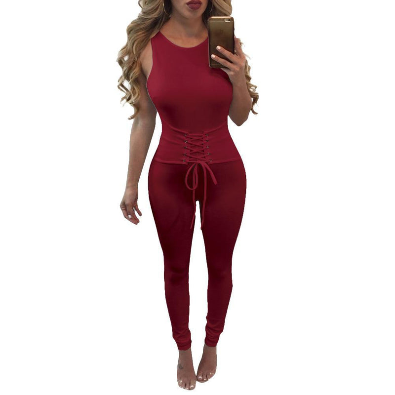 Open Back Lace Up Band Waist Long Skinny Jumpsuits