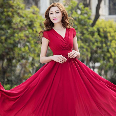 High Waist V-neck Short Sleeves Long Pleated Party Dress