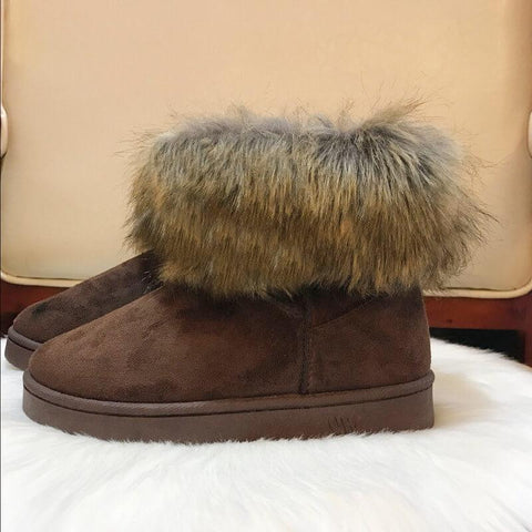 Fur Leather Leopard Ankle Snow Flat Boots