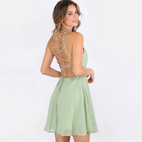 A-line Backless Spaghetti Straps High Waist Short Dress