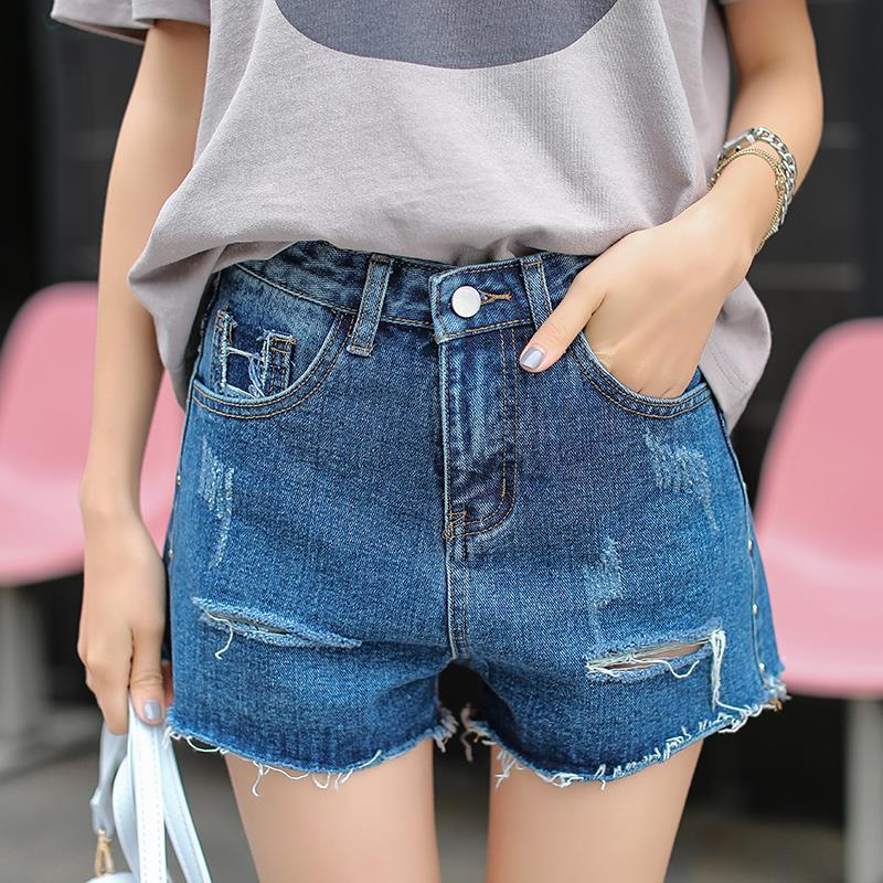 Hight Waist Hole Pure Color Pockets Denim Shorts