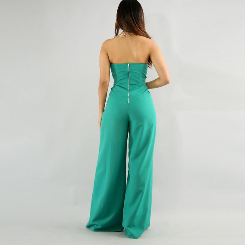 Irregular Sleeveless Strapless High Waist Long Split Wide-leg Jumpsuits
