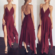 Spaghetti-Straps-Deep-V-neck-Back-Cross-Irregular-Chiffon-Dress