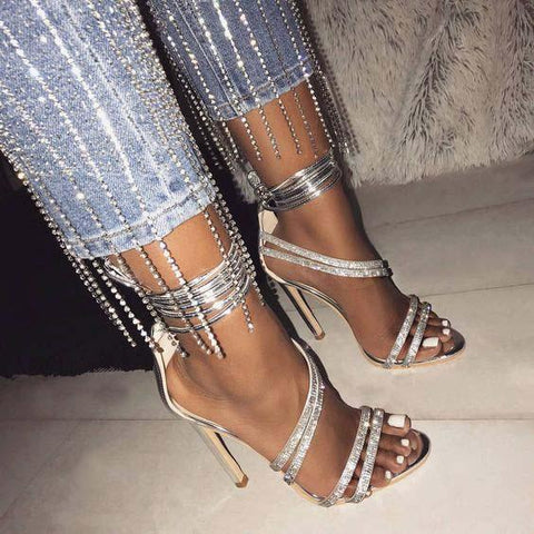 High Heel Strappy Ankle Rhinestone Sandals