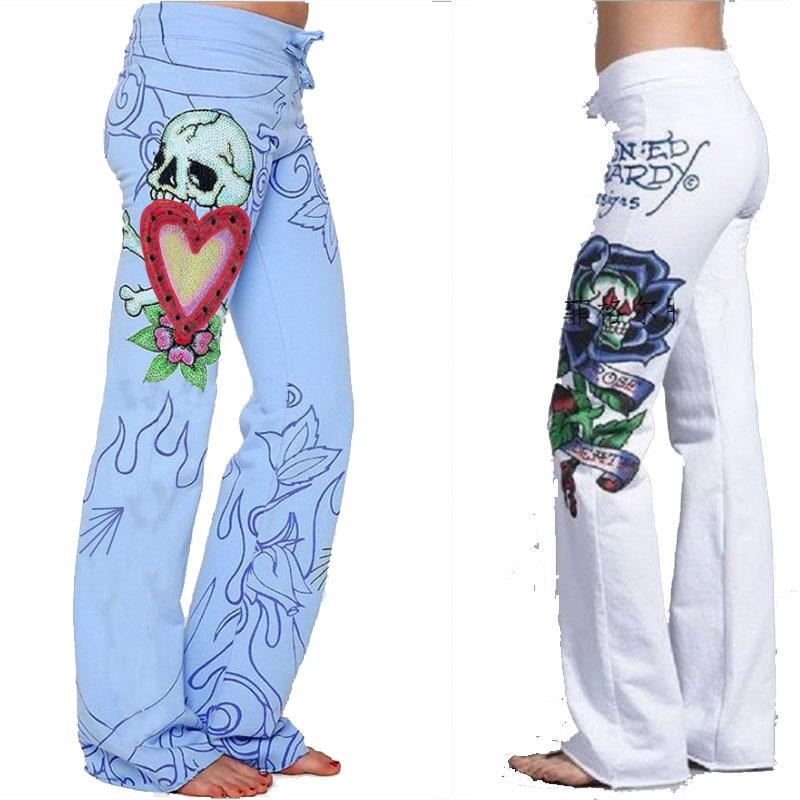 Print Middle Waist Wide-Legs Loose Long Pants