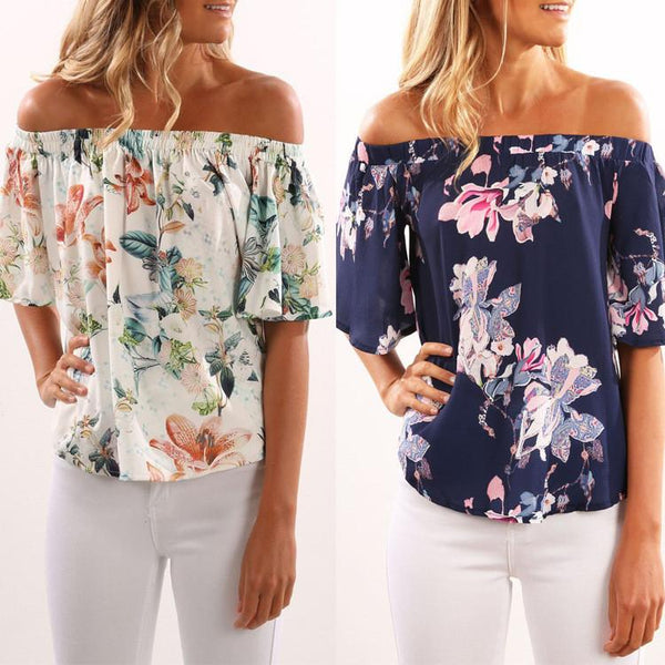 Off Shoulder Print Trumpet Sleeves Irregular Blouse