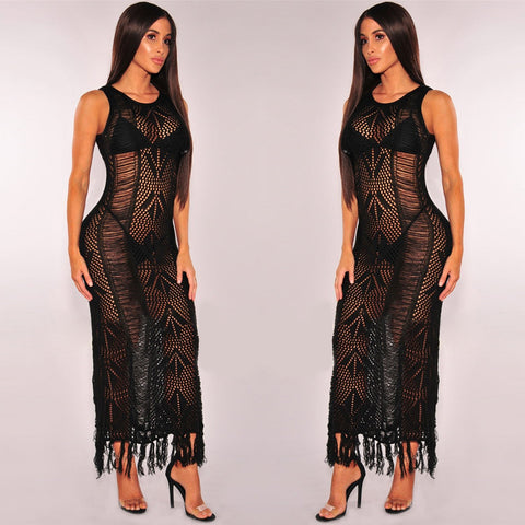 Sexy Hollow Out Tassels Transparent Long Cover Up Dress