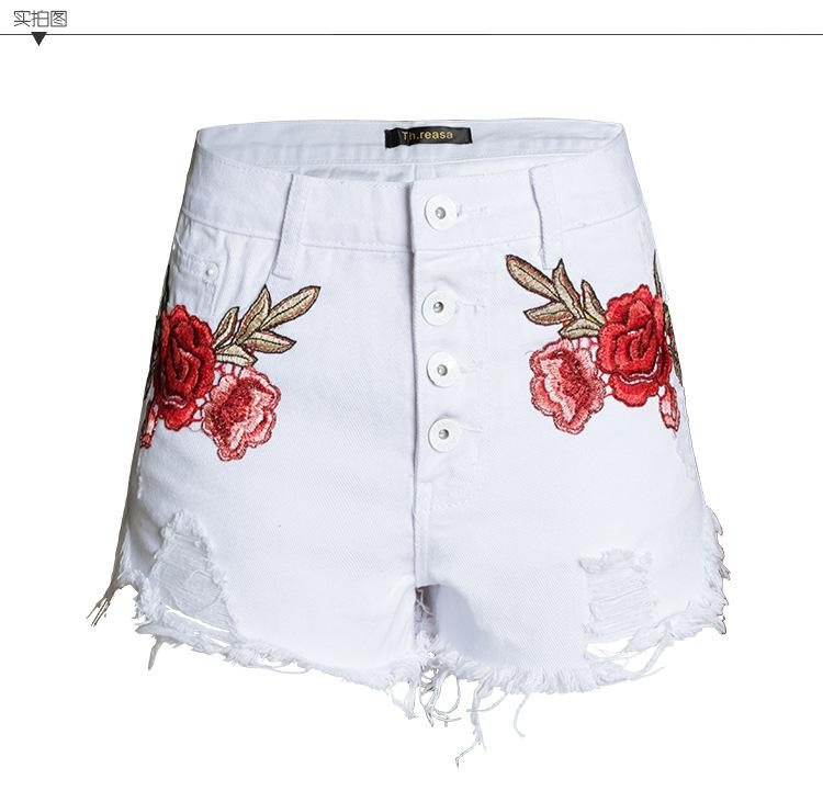 Flower Embroidery High Waist Irregular Slim Shorts