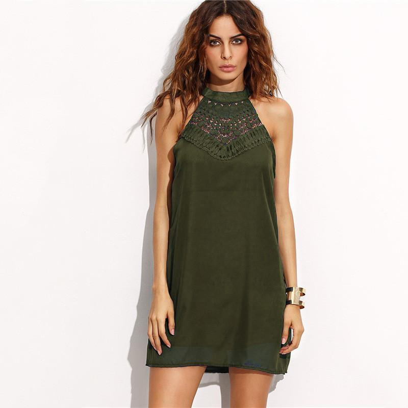 Pure Color Bear Shoulder Loose Lace Short Dress