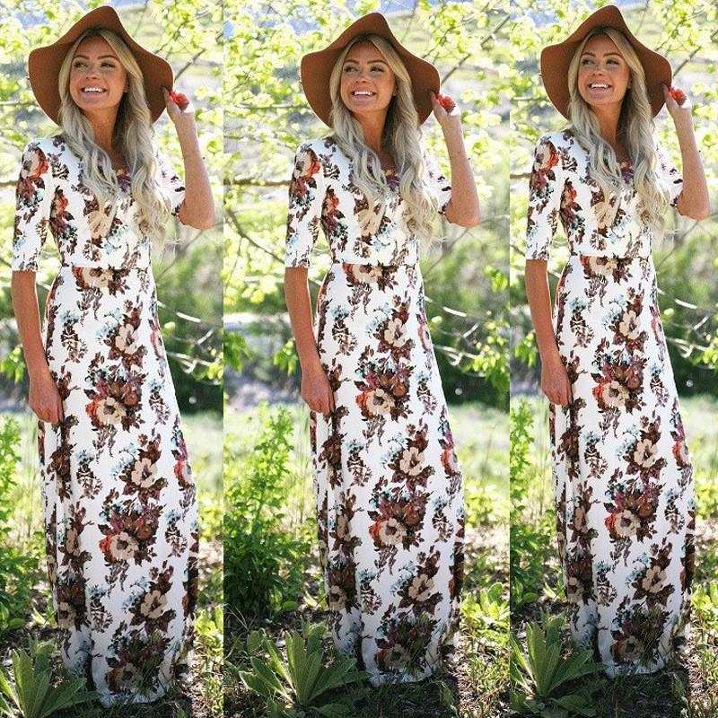 Scoop Half Sleeves Flower Print Long Party