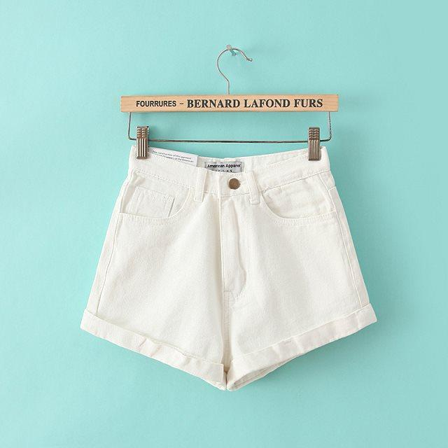 Retro Style High Waist Pure Color Denim Slim Shorts