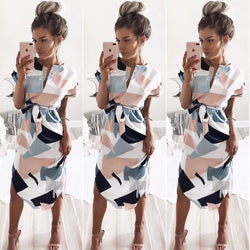 Sexy V-neck Print Irregular Knee-length Dress
