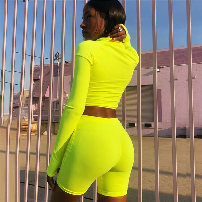 Sexy Bright Color Long Sleeve High Waist Bodycon Stretch Two Pieces Sets
