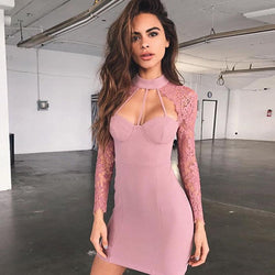 High Neck Cut Out Lace Patchwork Bodycon Short Dress