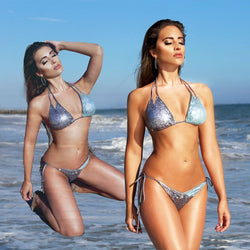 Sequins Halater Low Waist Lace Up Bandage Bikini Set