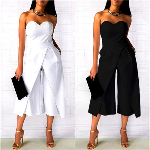 Pure Color Strapless Sleeveless Tee Length Jumpsuit