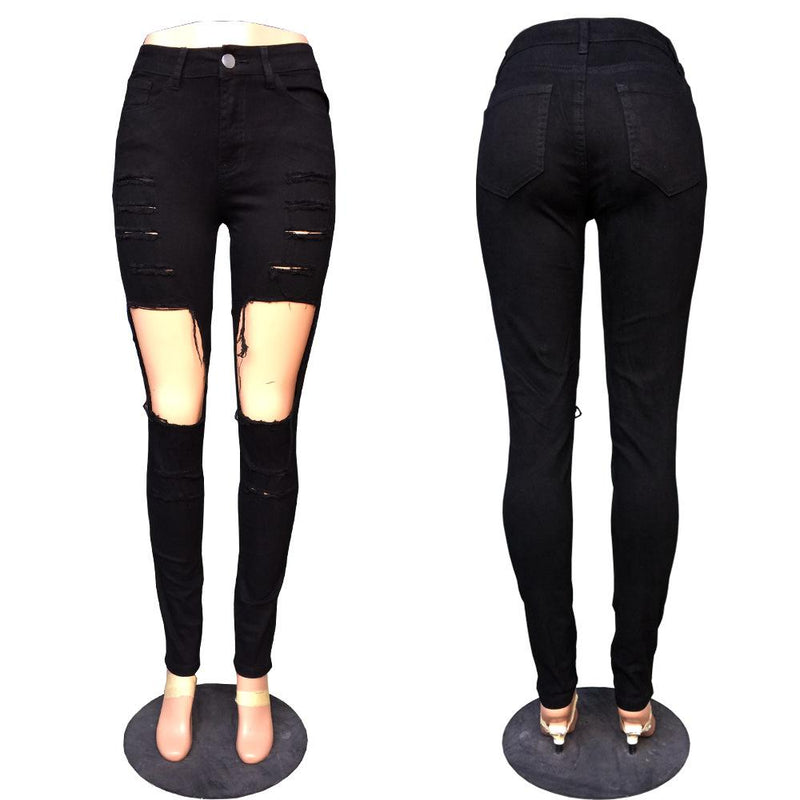 Rough Cut Out Holes Low Waist Long Skinny Jeans Denim Pants