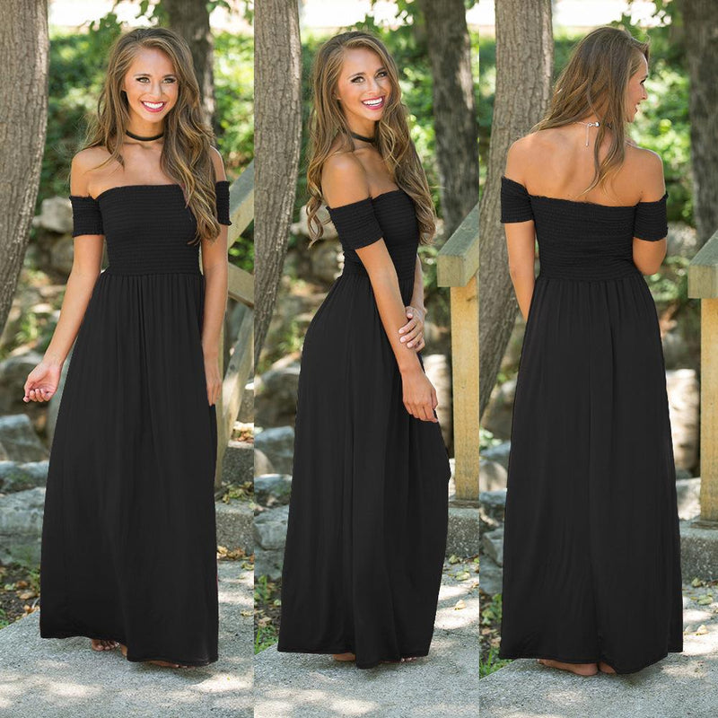 Off Shoulder Pure Color Long Party Dress