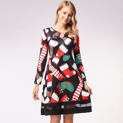 Christmas Cut Out Mesh Splice A Line Dress