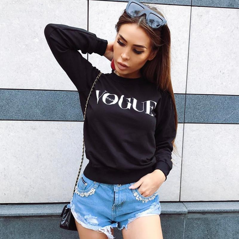 Letter Round Collar Long Sleeves Short Sweatshirt