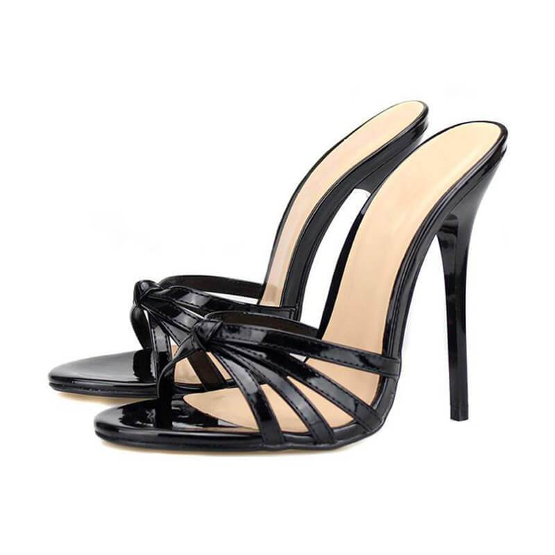 Sexy Leather Cutout Open Toe Mule High Heel Sandals