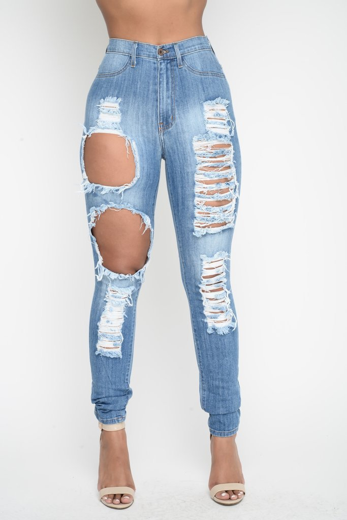 Rough Holes Cut Out High Waist Long Skinny Jeans Denim Pants