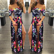 Off Shoudler Short Sleeves Floral Print Long Split Dress